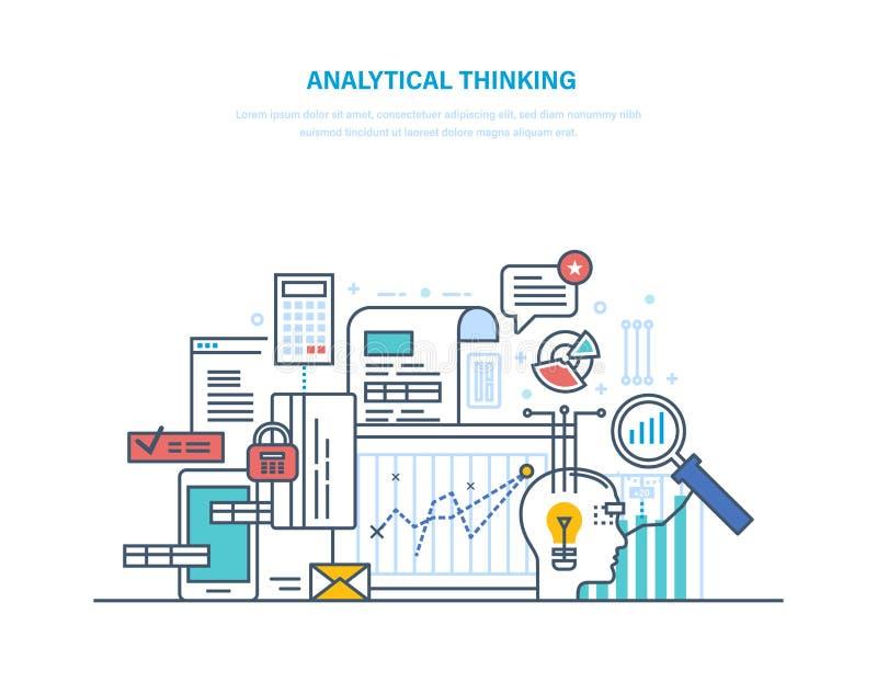 Аналитический думать Логический анализ, рассуждение, ища эффективное решение, творческий думать иллюстрация штока