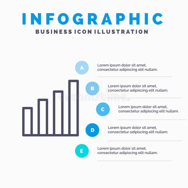 Аналитический, интерфейс, сигнал, линия потребителя значок с предпосылкой infographics представления 5 шагов иллюстрация вектора