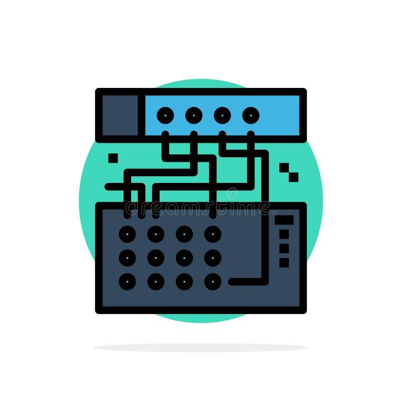 Аналог, соединение, прибор, модуль, значок цвета ядровой абстрактной предпосылки круга плоский иллюстрация вектора