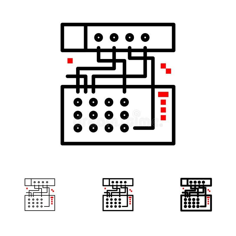 Аналог, соединение, прибор, модуль, ядровая смелая и тонкая черная линия набор значка бесплатная иллюстрация