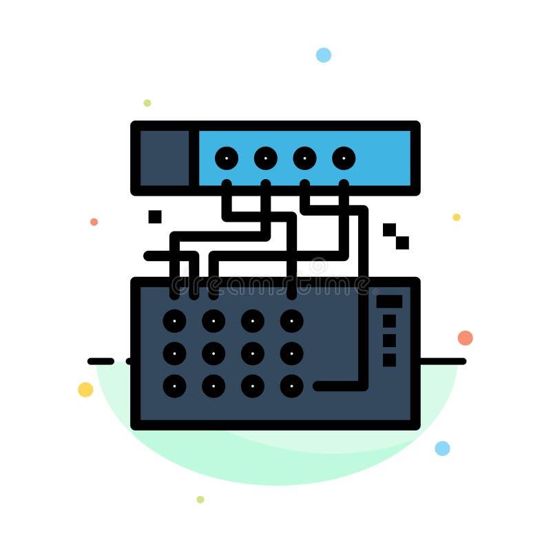 Аналог, соединение, прибор, модуль, ядровый абстрактный плоский шаблон значка цвета иллюстрация штока