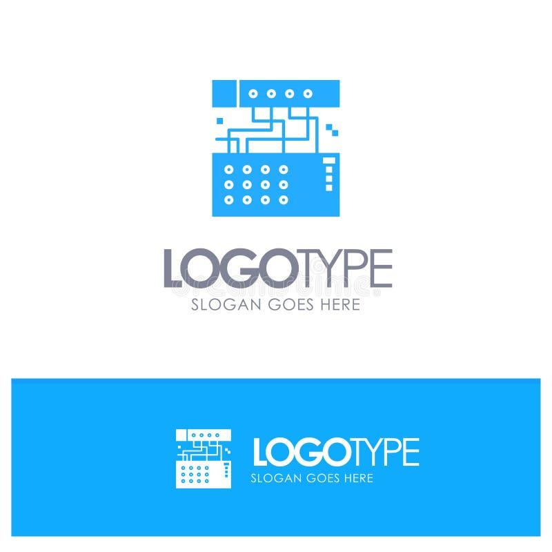 Аналог, соединение, прибор, модуль, ядровый голубой твердый логотип с местом для слогана иллюстрация вектора