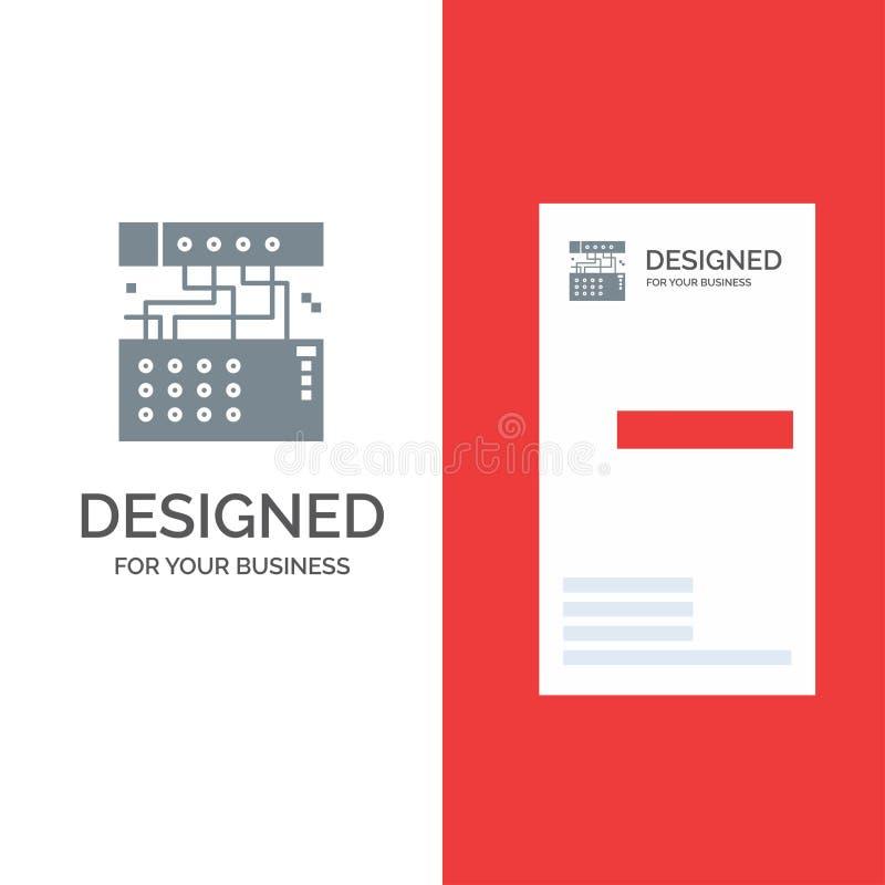 Аналог, соединение, прибор, модуль, ядровый серый дизайн логотипа и шаблон визитной карточки иллюстрация штока