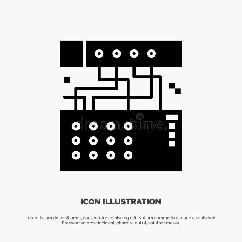 Аналог, соединение, прибор, модуль, ядровый твердый вектор значка глифа бесплатная иллюстрация