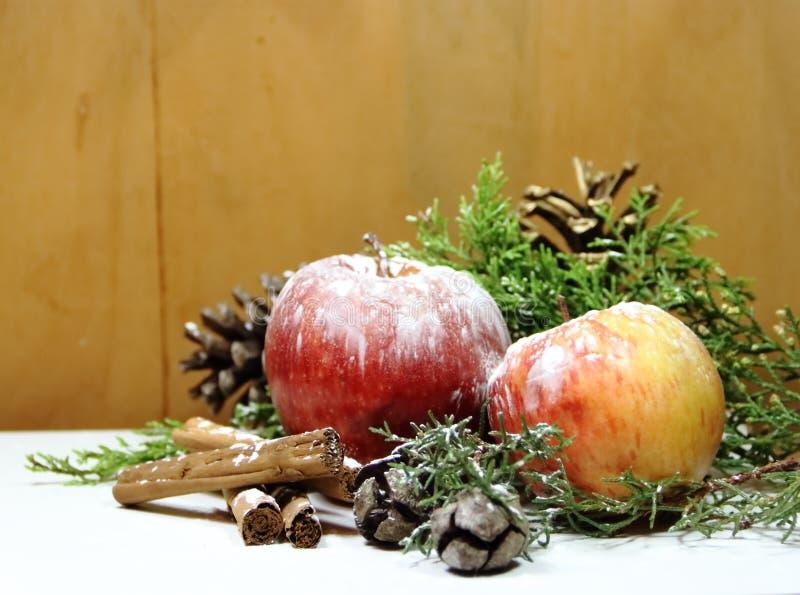 Ананасы красных яблок предпосылки рождества золотые зеленеют сосны и сухофрукт стоковые фото
