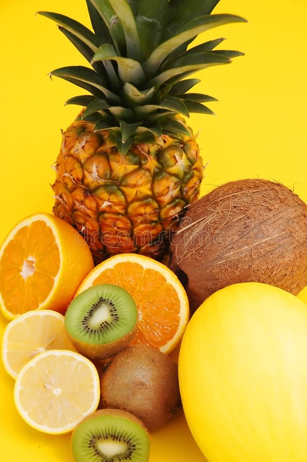 ананас дыни кокоса цитруса стоковое фото rf