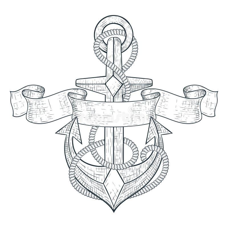 анатомических Связанный со знаменем веревочки и ленты Эскиз нарисованный рукой иллюстрация вектора