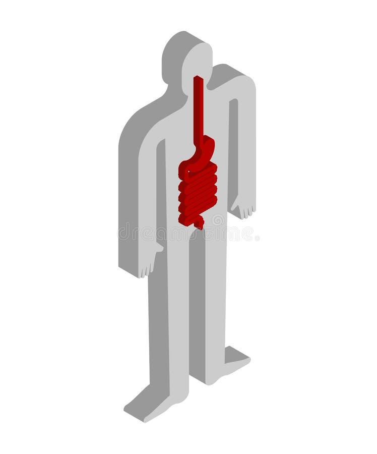 Анатомия живота и esophagus равновеликая человеческого тела внутренн иллюстрация вектора