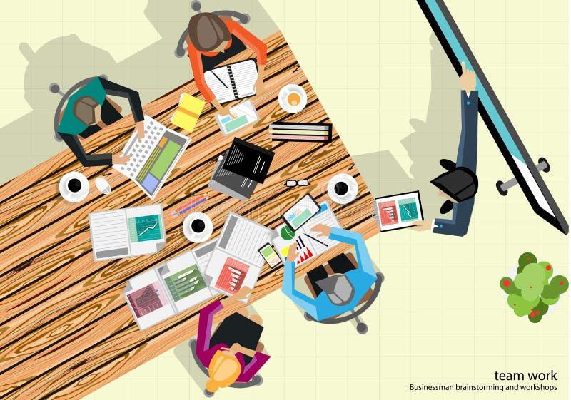 Анализ метода мозгового штурма бизнесмена работы команды вектора маркетингового плана бесплатная иллюстрация