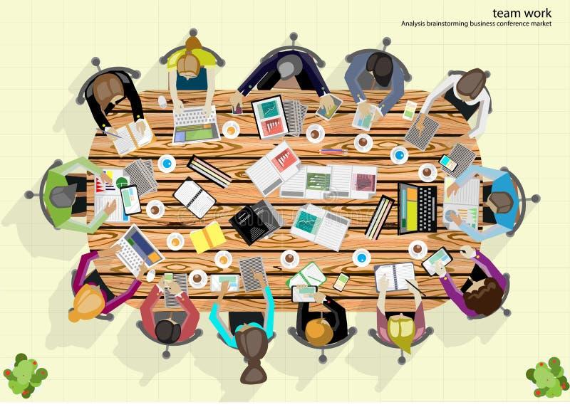 Анализ метода мозгового штурма бизнесмена работы команды вектора маркетингового плана иллюстрация вектора