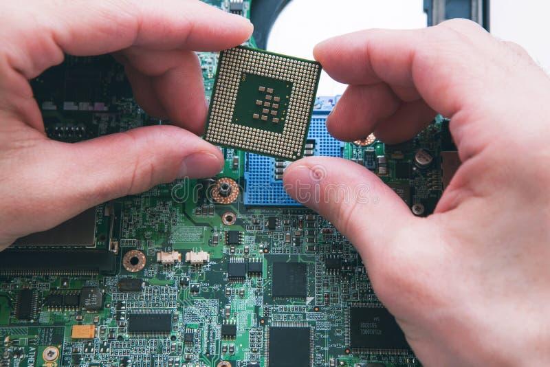 Анализ, устанавливать процессора в гнездо C.P.U. стоковые фото