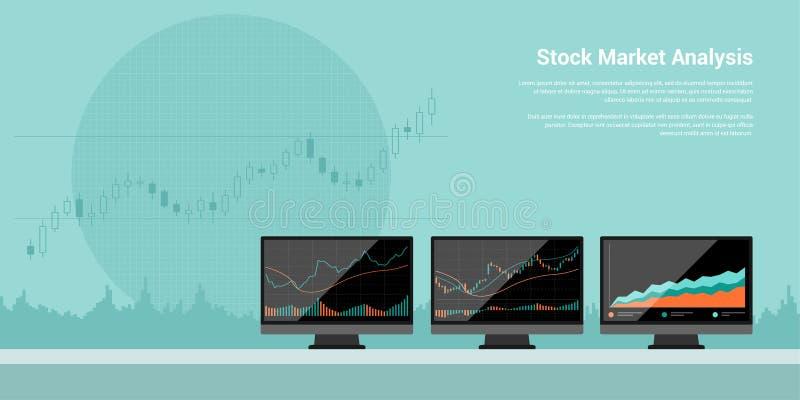 Анализ фондовой биржи иллюстрация вектора