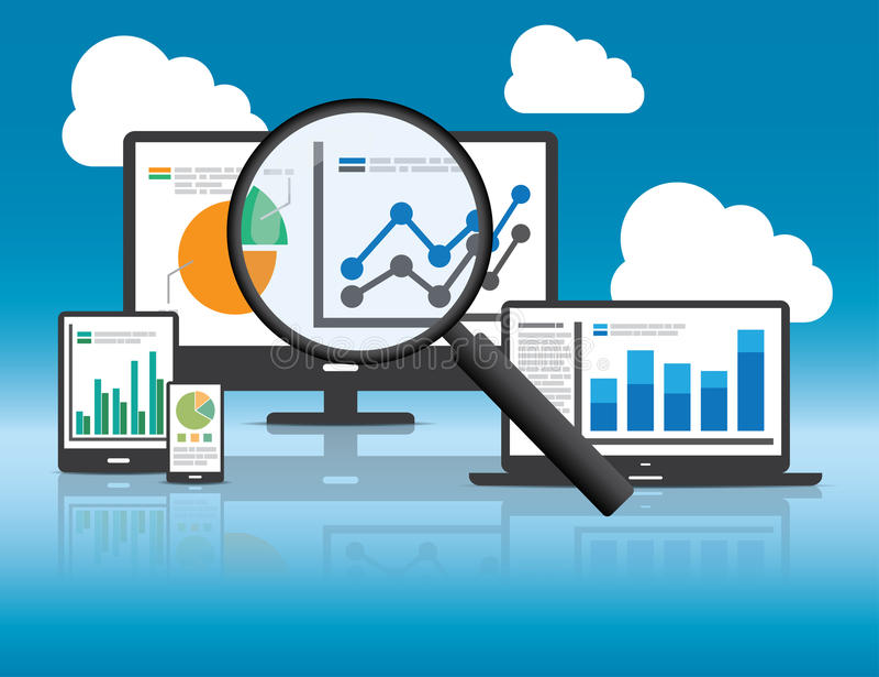 Аналитик вебсайта и анализ данных SEO концепция иллюстрация штока
