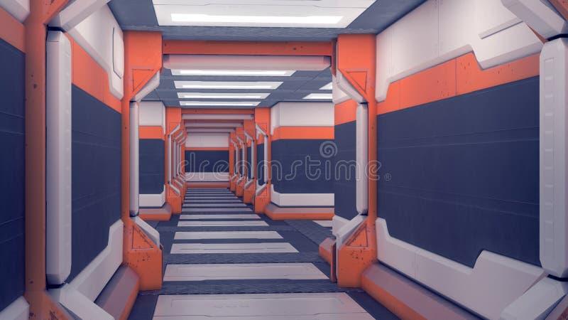 Ангар научной фантастики Белые футуристические панели с оранжевыми акцентами Коридор космического корабля со светом иллюстрация 3 иллюстрация вектора