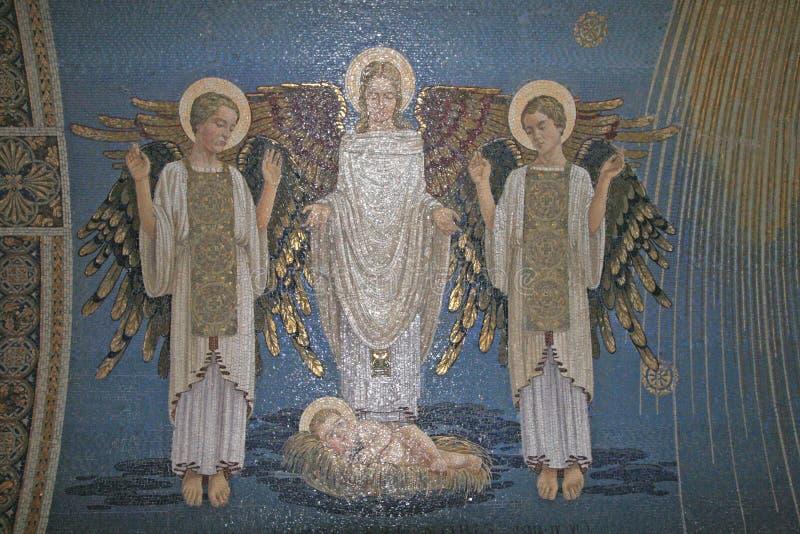 Ангелы, мозаика, держатель Табор, базилика Transfiguration стоковое изображение