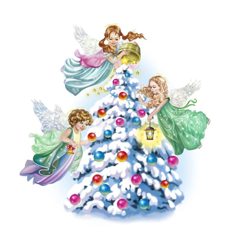 Ангелы украшают рождественскую елку бесплатная иллюстрация