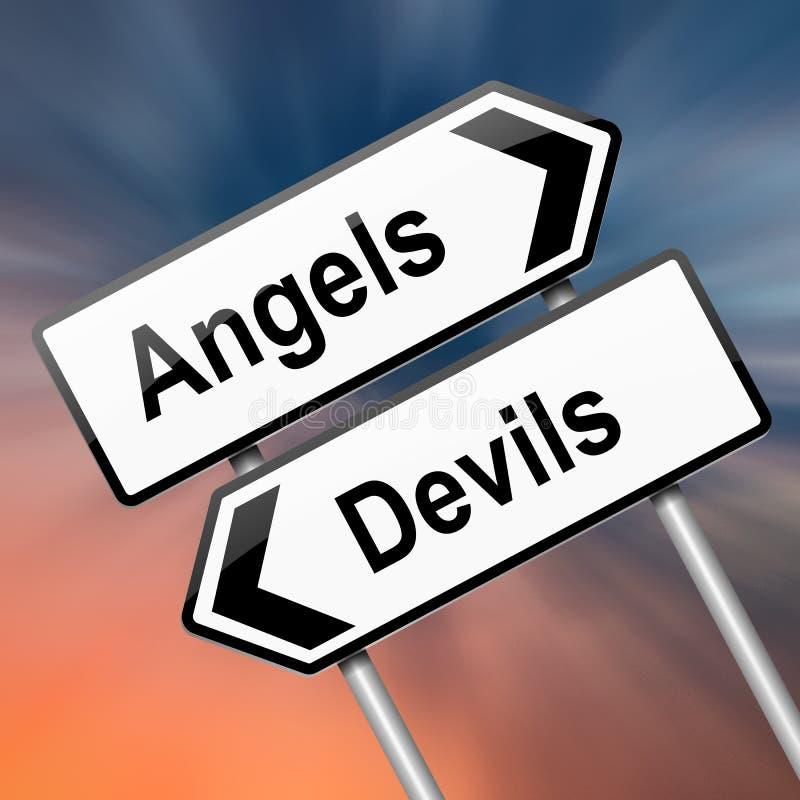 Ангел или принципиальная схема дьявола. иллюстрация штока