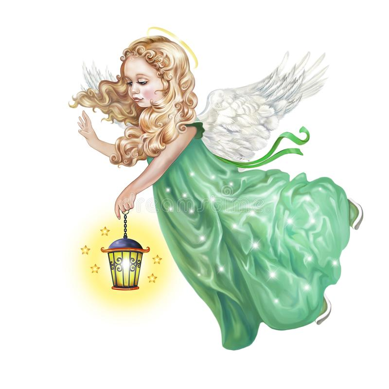 Ангел летает с лампой иллюстрация вектора