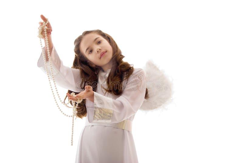 ангел меньшяя перла ожерелья довольно стоковое фото