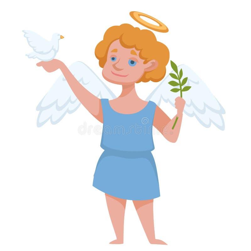 Ангел с венчиком и крылья держа голубя и ветвь иллюстрация вектора