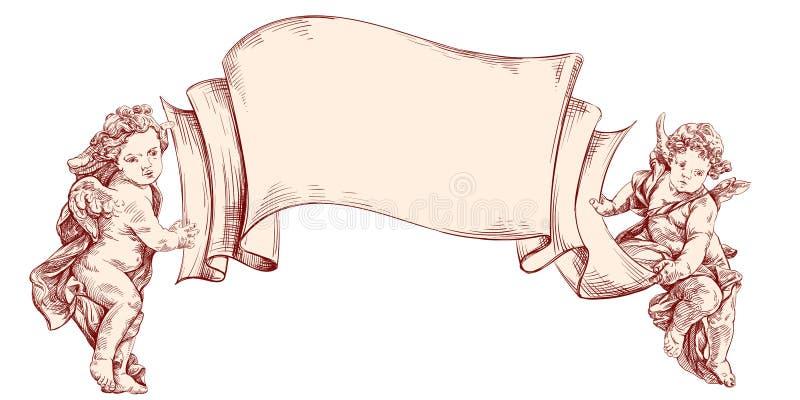 Ангелы или купидон держат чистый лист изолированного сообщениями вектора нарисованного рукой иллюстрация вектора