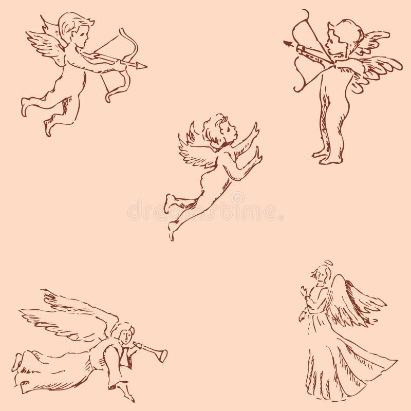 Ангелы Эскиз карандаша вручную Винтажные цветы вектор иллюстрация вектора