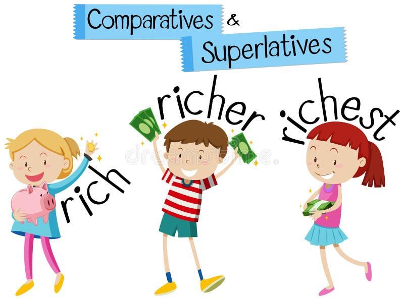 Английская грамматика для comparatives и высшая точка с детьми и иллюстрация штока