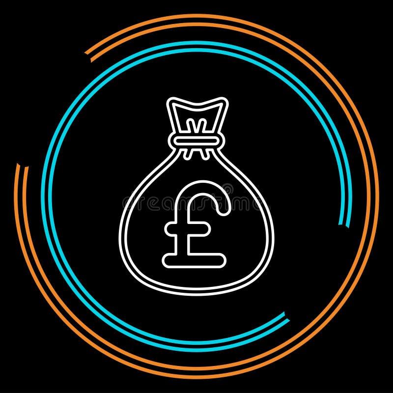Английская иллюстрация сумки денег фунта иллюстрация вектора