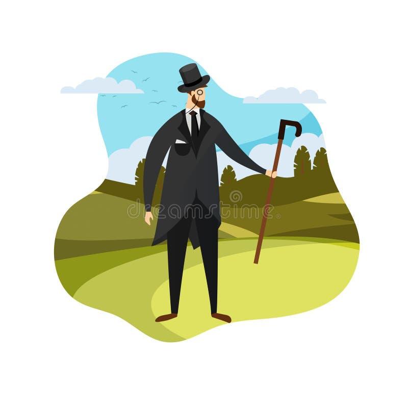 Английская молодая одежда джентльмена в элегантном костюме бесплатная иллюстрация