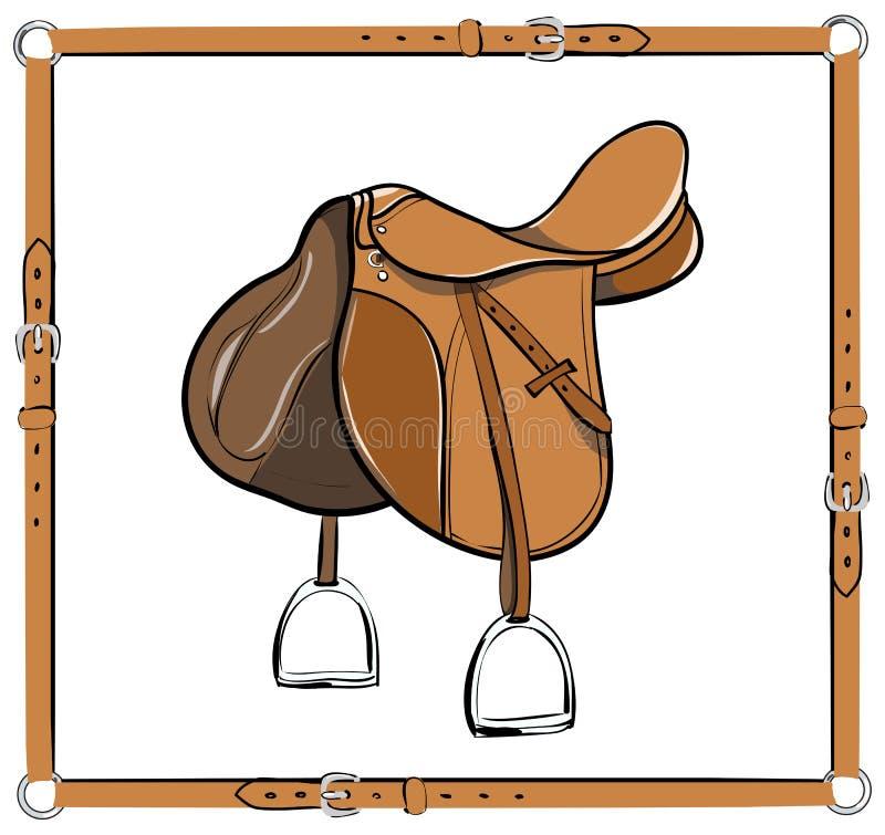 Английская седловина в кожаном узловом шпангоуте на белизне иллюстрация штока