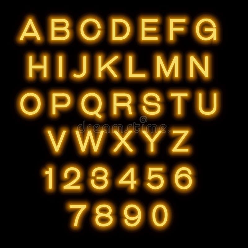 Английский алфавит и номера неон икон предпосылки черный установил тип 6 иллюстрация штока