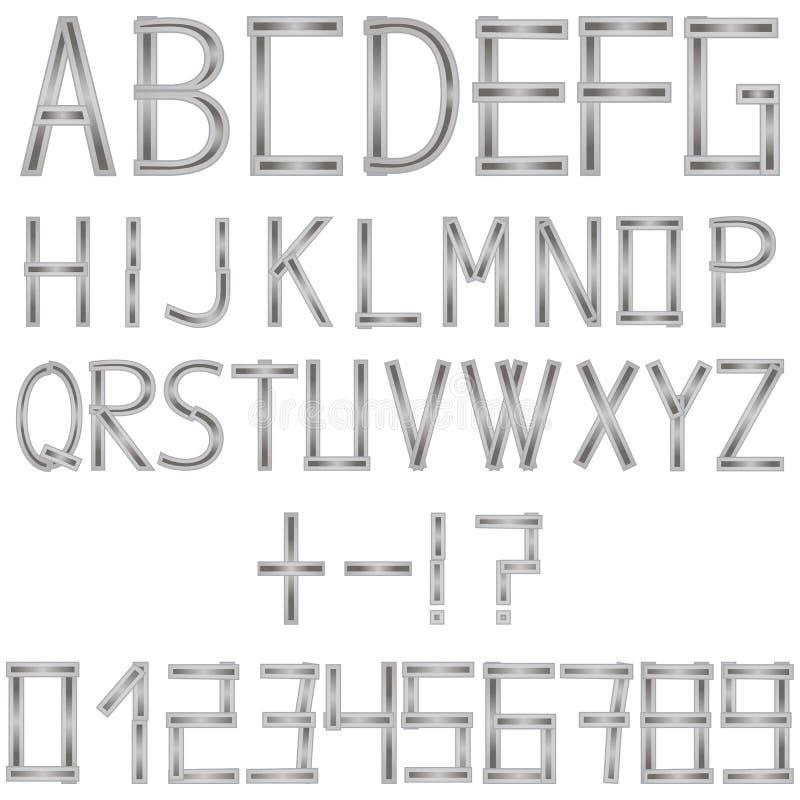 Английский алфавит и номера от серых прокладок металла иллюстрация вектора