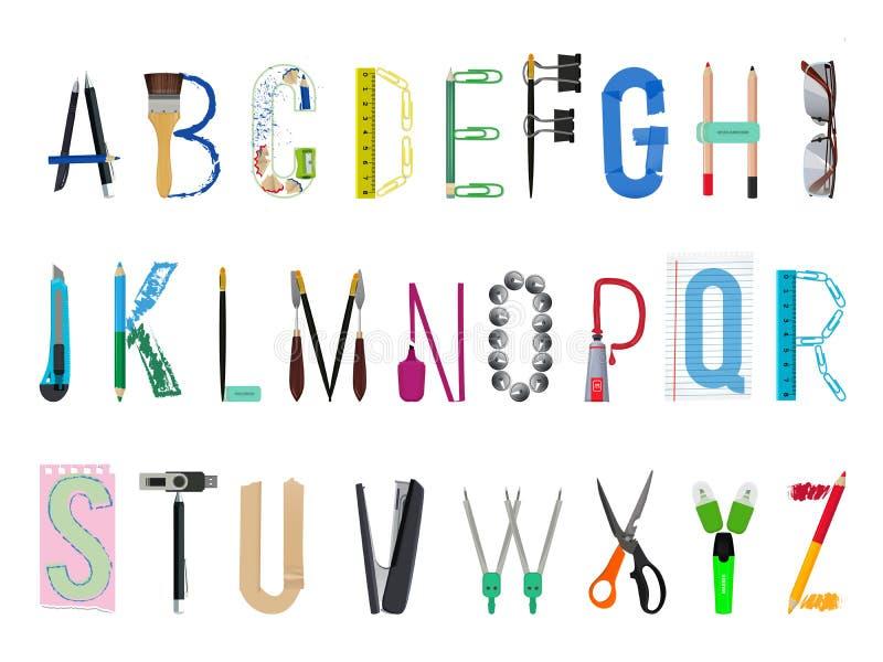 Английский алфавит от канцелярские товаров иллюстрация вектора