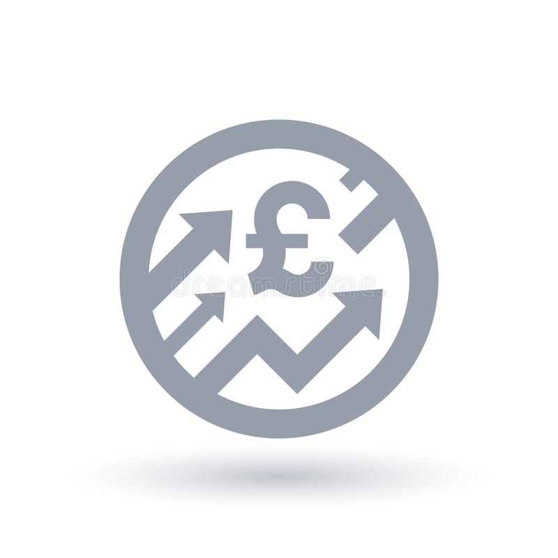 Английский фунт с стрелками поднимает значок концепции - symb экономического роста бесплатная иллюстрация