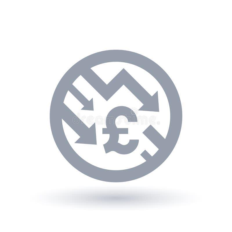 Английский фунт с стрелок значком концепции вниз - экономическим ростом sy бесплатная иллюстрация