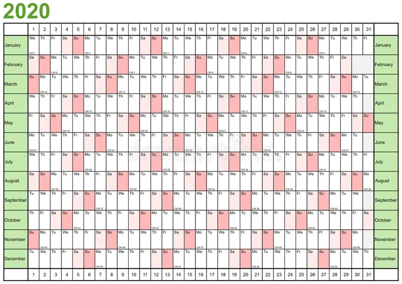 Английский язык плановика 2020 года линейный иллюстрация вектора