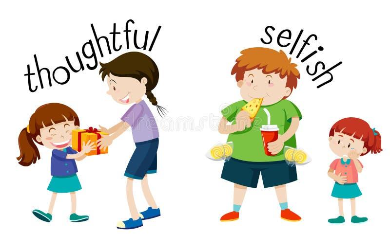 Английское слово терминологии внимательное и эгоистичное иллюстрация вектора