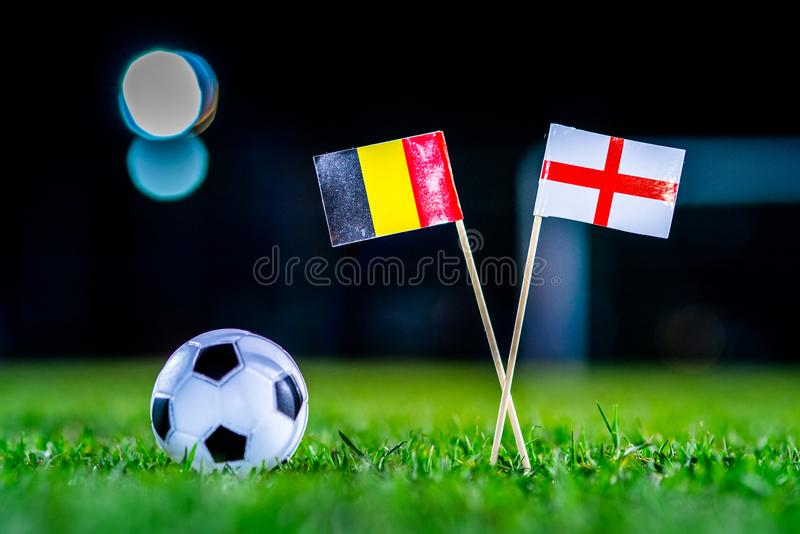 Англия - Бельгия, группа g, Thursday, 28 Футбол -го июнь, кубок мира, Россия 2018, национальные флаги на зеленой траве, белом ба  стоковые изображения rf