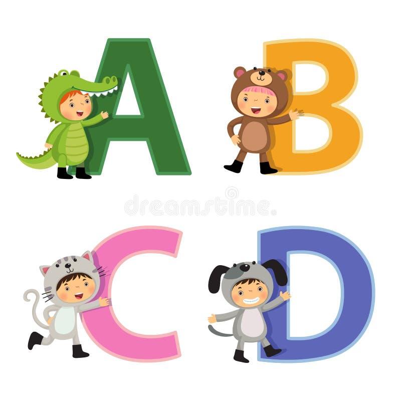 Английский алфавит с детьми в животном костюме, письмами a к d бесплатная иллюстрация