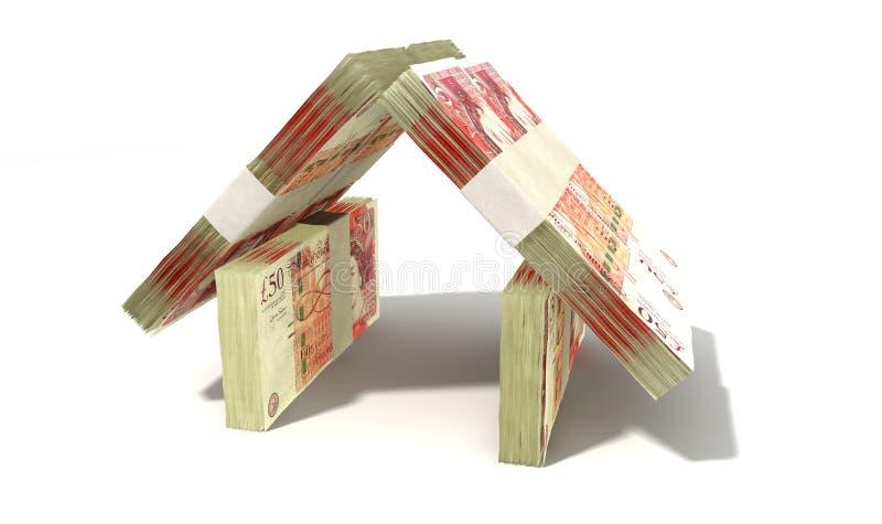 Английский фунт замечает перспективу дома иллюстрация штока