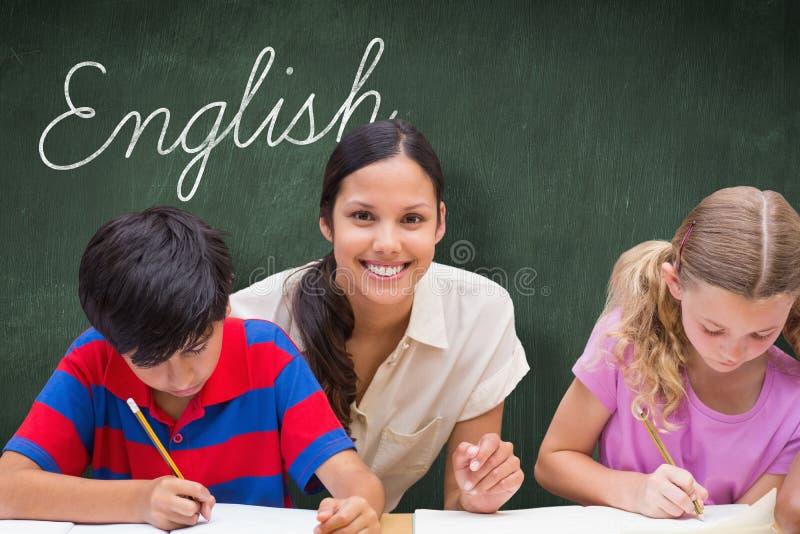Английский язык против зеленой доски стоковое фото rf