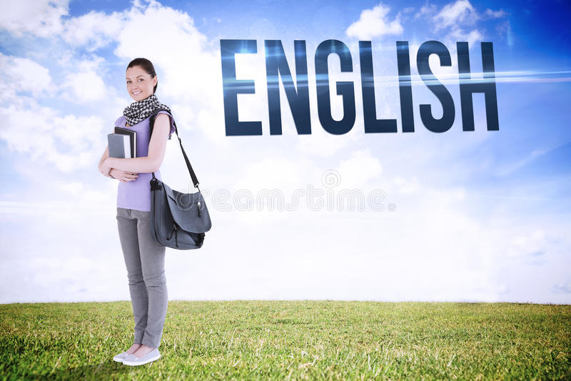 Английский язык против спокойного ландшафта стоковое фото rf