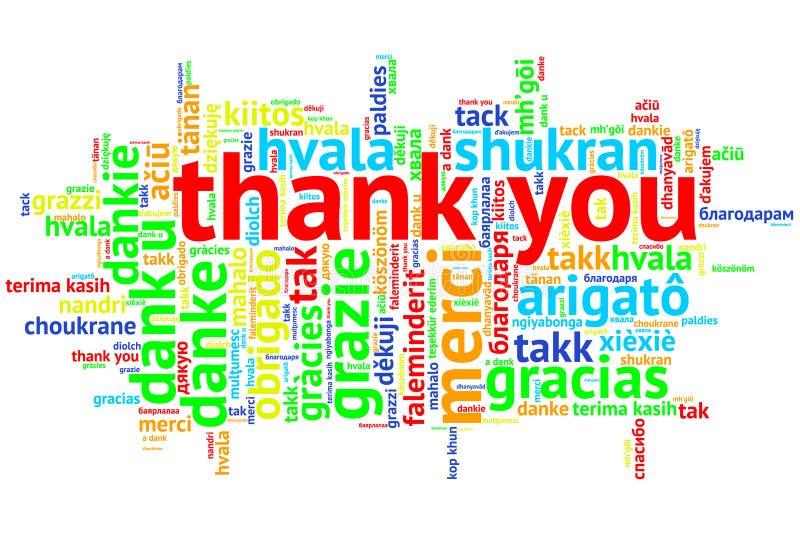 Английский язык спасибо, открытое облако слова, спасибо, на белизне иллюстрация штока