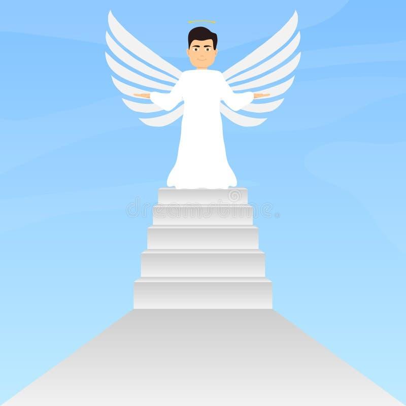 Анджел стоит на шагах, ангеле с крылами и венчике бесплатная иллюстрация