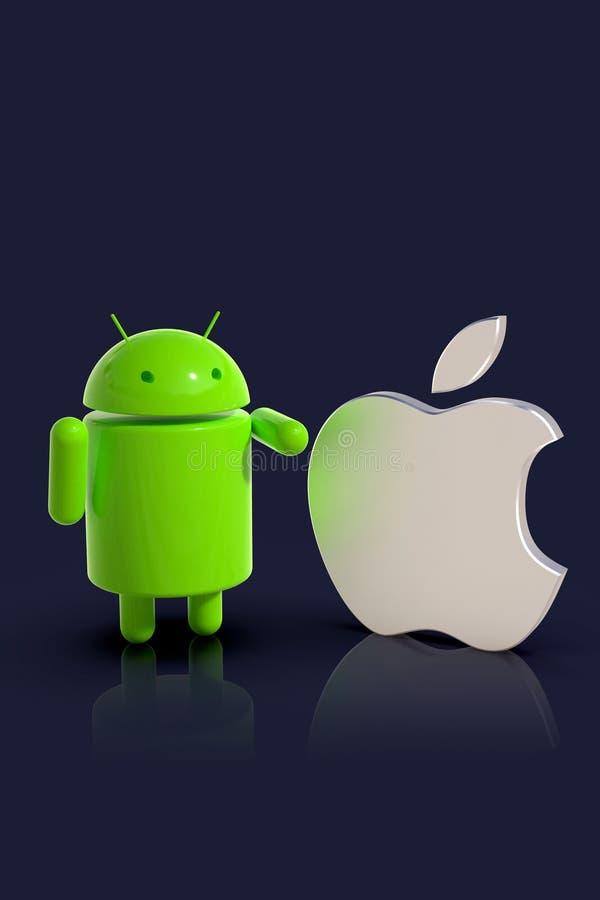 Андроид против сравненного iOS Яблока - характеры логотипа иллюстрация штока