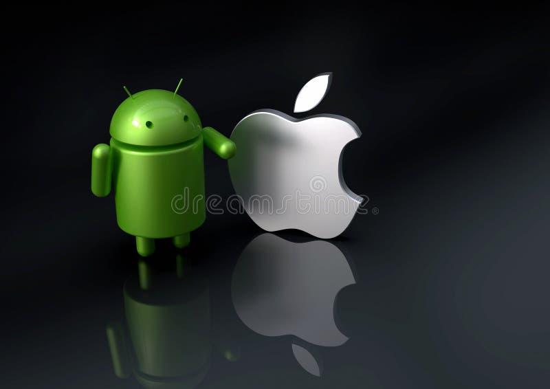 Андроид против сравненного iOS Яблока - характеры логотипа иллюстрация вектора