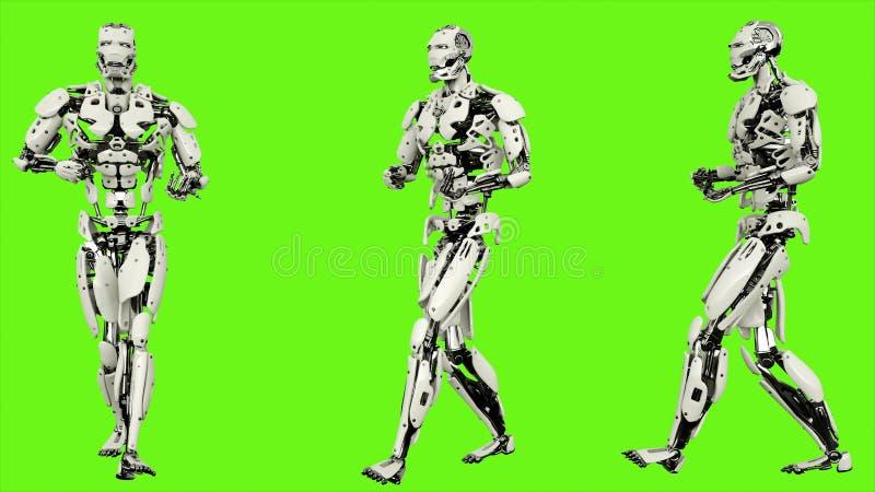 Андроид робота ОН назад распространённая прогулка Реалистическое закрепленное петлей движение на зеленой предпосылке экрана перев бесплатная иллюстрация