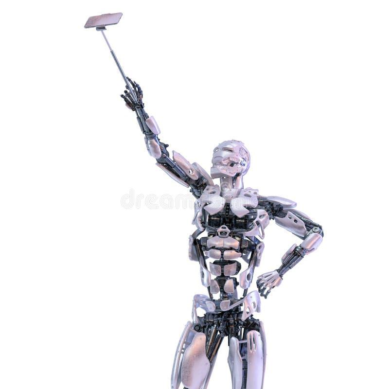 Андроид робота принимая selfie на черни или смартфон на ручке selfie искусственний мозг обходит вокруг mainboard электронной свед иллюстрация вектора