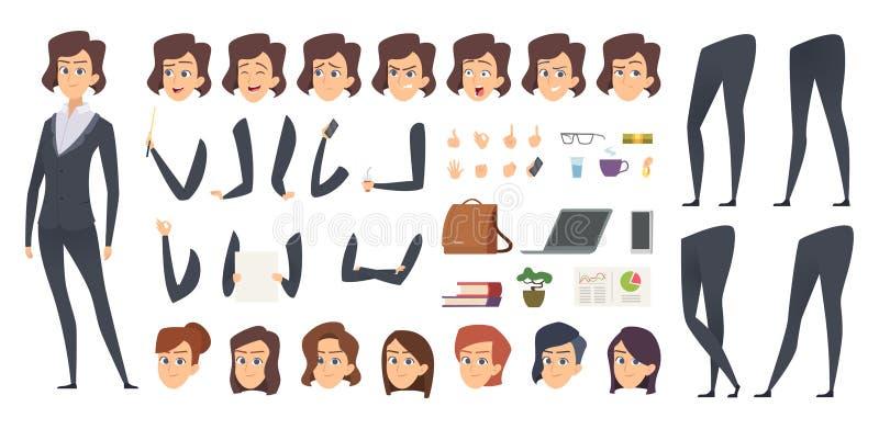Анимация бизнес-леди Конструктор характера вектора частей тела менеджера набора творения женский и инструментов офиса иллюстрация штока