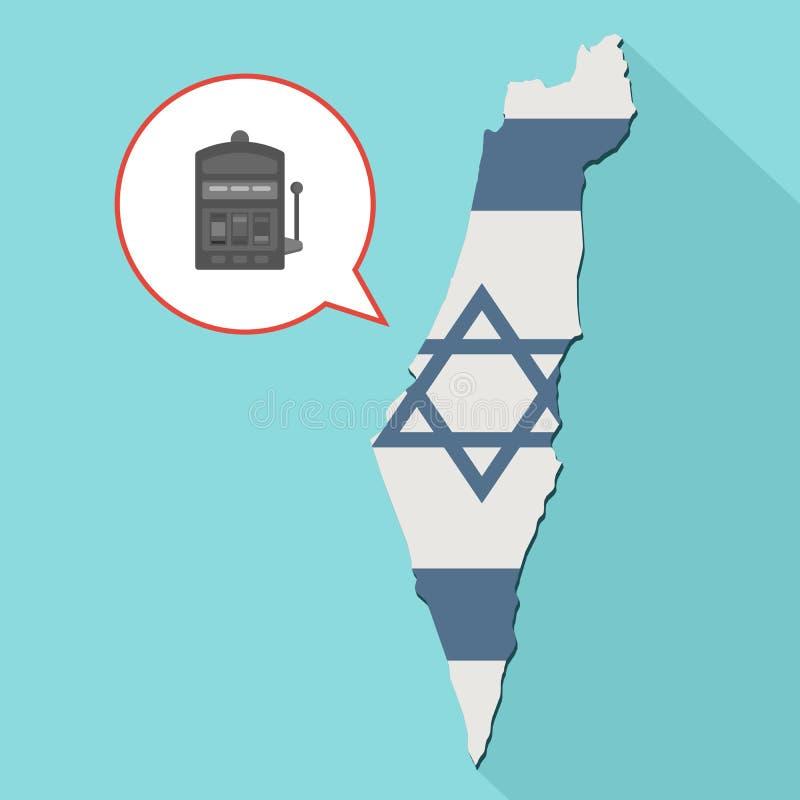 Анимация длинной карты Израиля тени со своим флагом и шуточным бесплатная иллюстрация